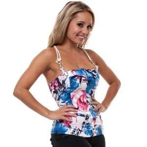 Blue ivory Corset Top Tank Blouse Floral Shirt